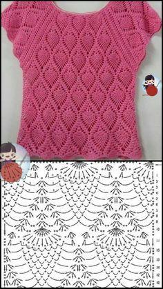 Crochet Mask, Crochet Blouse, Crochet Stitches Patterns, Crochet Designs, Love Crochet, Crochet Top, Crochet Decoration, Crochet Diagram, Crochet Clothes