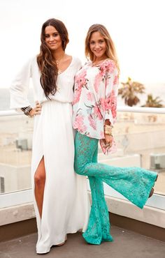 Lace bell bottoms  This is dumb styling- wear with t shirt or tank top, milkmaid braids or pigtails, and hippie sunglasses