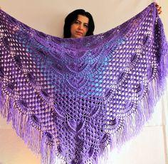 Hand crochet shawl scarf wrap gift crocheted by russianknitshop