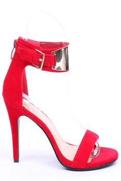 Red Open Toe High Heels