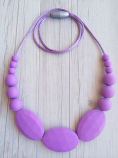 """Silicone Teething Necklace """"Zoe"""" - Lilac - Pookie Baby pookie.com.au"""