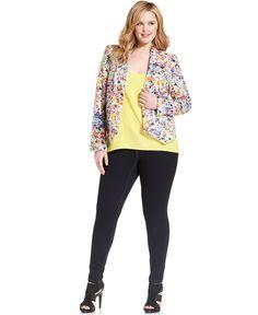 LOVE THIS BLAZER!! Jessica Simpson Plus Size Floral-Print Draped Blazer & Jeggings - Plus Sizes - Macys