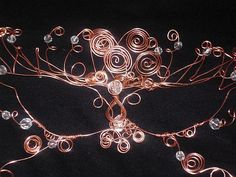 Copper wire masquerade mask with crystals by WireEffectsbyKendra, $45.00