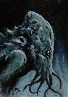 Cthulhu Original Oil Painting of The HP Lovecraft Monster Sci Fi Horror Art…
