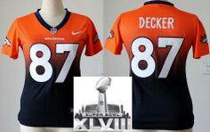 Women Nike Denver Broncos 87 Eric Decker Orange Blue Elite Drift Fashion II 2014 Super Bowl XLVIII NFL Jerseys
