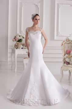 Newest Trumpet / Mermaid Floor-length Cathedral Train Square Full Back Satin White Wedding Dresses