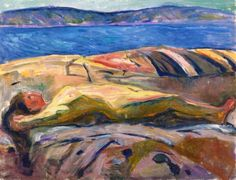 Edvard Munch - Reclining Nude on the Beach, 1915