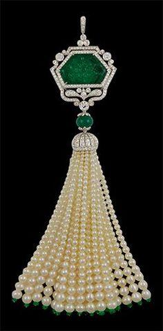 Platinum Carved Emerald, Diamond and Pearls Tassel Pendant