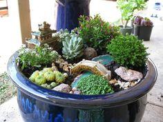 mini jardin japonais, miniature sympathique dans un pot
