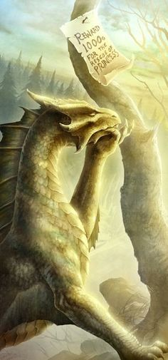 Gold dragon--love this picture so much! :) I prefer dragons with more horse like necks like this one. The snake like necks just look awkward.