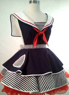 Sailor Sue Pin Up Costume Apron. $75.00, via Etsy.  Another gorgeous apron design
