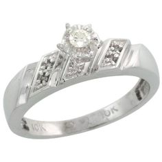 Sterling Silver Diamond Engagement Ring w 007 Carat Brilliant Cut Diamonds 316 in 5mm wide Size 10 *** Learn more by visiting the image link.