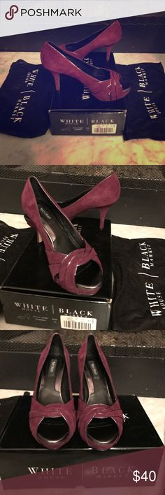 White House Black Market Pumps Practically new only worn once! Comes with original box and shoe sleeves to keep the suede protected! White House Black Market Shoes Heels