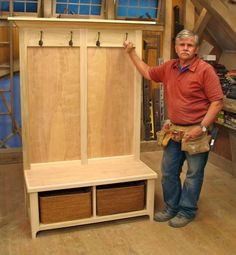 Farmhouse Entryway Bench Built Ins 69 New Ideas Hall Tree Bench, Entry Bench, Door Hall Trees, Entry Hall, Front Entry, Diy Wood Projects, Home Projects, Woodworking Plans, Woodworking Projects