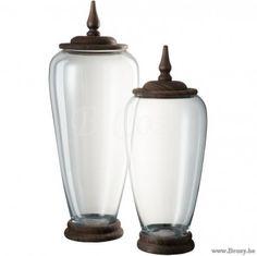 J-Line Potiche Deksel Punt Glas-Hout TransparAntiek Large Jline-by-Jolipa-70470