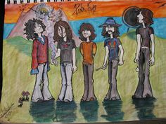 Pink Floyd fan art picture of the band.  I love how the artist depicted Syd.