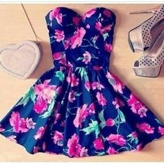 Flowers, Dress,Shoes,Heart floral outfit