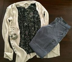 Knit Sweater in Cream - T.J. Maxx. Floral Top w/ Leather Accent - The Loft. Zippered Skinny Pant in Grey - Banana Republic.