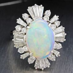 Vintage Solid White Gold Opal Baguette Diamond Cocktail Ring - June 15 2019 at Jewelry Model, Coin Jewelry, Steel Jewelry, Opal Jewelry, Diamond Jewelry, Luxury Jewelry, Jewelry Necklaces, Jewelry Shop, Antique Jewelry