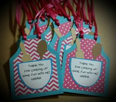 Cooking Party Favor Tags Baking Party Favor Tags Birthday