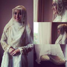 meyda sefira's wedding dress by irna mutiara #hijab #wedding #muslim #syari #indonesia #headpiece
