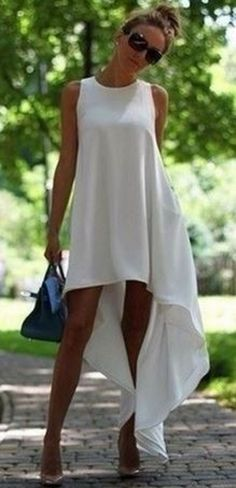Love this Dress Design! White Plain Round Neck Irregular Sleeveless High-Low Chiffon Dress #White #Hi_Lo #Summer #Dress #Fashion