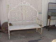 Image result for benches made from iron headboards