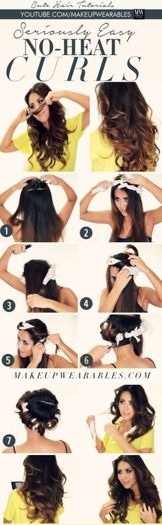How to No-Heat Curls your hair overnight - cute easy hairstyles 3