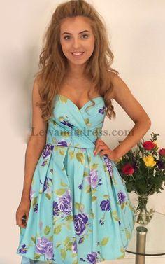 Blue Lewande 50116 Floral Print Sweetheart Homecoming Dress Short [Blue Lewande 50116] - $145.00 : LewandeDress.com