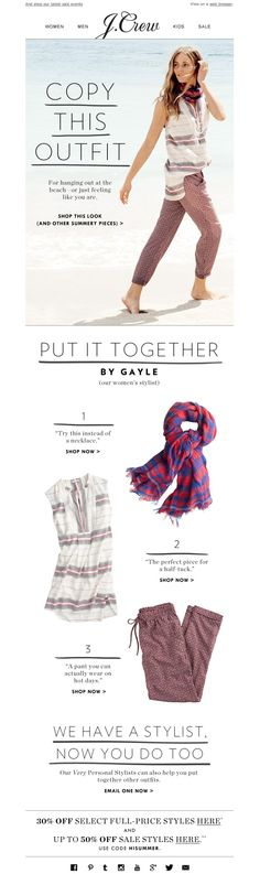 #newsletter J.Crew 06.2014 Today's outfit inspiration is...