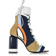 Pierre Hardy Shoes Alchimia Color Block Suede Lace Up Sandal (£325) ❤ liked on Polyvore featuring shoes, sandals, navy blue, multi color high heel sandals, navy blue high heel sandals, wrap around sandals, lace up sandals and navy sandals