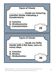 Clouds: In this science packet you will receive 60 types of clouds task cards