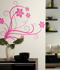 Deco Swirl Peel and Stick Wall Decals. These wall decals would look great on a newly painted piece of furniture College Wall Art, College Walls, Dorm Walls, Dorm Room, Mural Wall Art, Wall Decals, Do It Yourself Design, Wall Appliques, College Dorm Decorations