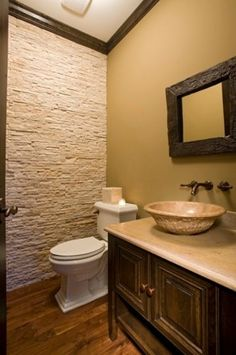 stone accent wall for powder room