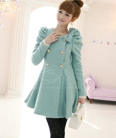 $49.49 Sweet Double-Breasted Bow Decorated Puff Sleeve Women's Coat With Scarf (PINK,S) | Everbuying.com