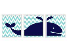 Whale Chevron Wall Art Print  - Navy Blue Aqua White Nautical Beach - Nursery Children Room Bathroom Home Decor set of 3 8x10