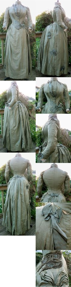 Beaded Olive Green Silk Bustle Day Walking Dress Gown 1886. From ebay seller madaboutfans