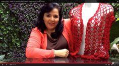 Chaleco Rojo - Tejido con gancho (fácil y rápido) - Tejiendo con Laura C... Crochet Chart, Love Crochet, Irish Crochet, Crochet Baby, Crochet Tops, Crochet Poncho, Crochet Cardigan, Free Cliparts, Knitting Blogs