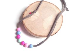 Silicone Bead Necklace Pink Blue Fuchsia  by sherbetwithsprinkles