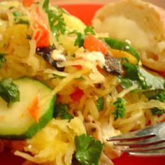 Spaghetti Squash Recipe (swap vegetable oil for real food alternative).