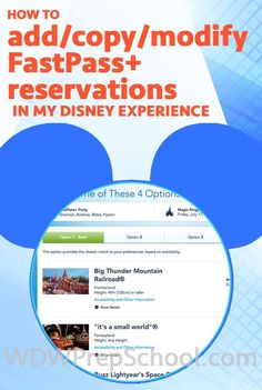 Screenshots of all of the steps it takes to add, copy and modify FastPass+ reservations
