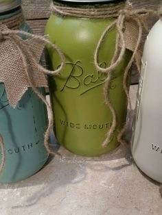HALF GALLON- Painted and Distressed Ball Mason Jars-Bleached Sand/Eucalyptus/Tree Frog Green-Flower