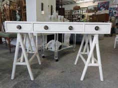 Vintage Rattan Saw Horse Desk