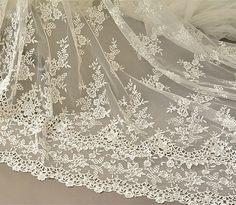 Ivory Embroidery Bridal Lace Fabric Corded Wedding by LaceNTrim