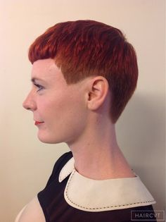 women redhead ginger  tapered fringe hairstyle