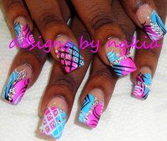 Glam Nails, Dope Nails, Pink Nails, Beautiful Nail Designs, Cute Nail Designs, Acrylic Nail Designs, Country Nails, Nagel Hacks, Exotic Nails