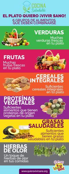 El Plato Quiero ¡Vivir Sano! comprende 6 grupos de alimentos que deben combinarse. - Verduras - Frutas - Cereales Integrales - Proteínas Vegetales - Grasas Saludables - Hierbas Aromáticas