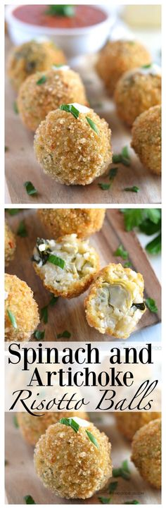 These crispy gluten free spinach and artichoke risotto balls have the flavors of everyone's favorite dish, just in a fun fried form! These are the perfect appetizer or starter for any party.