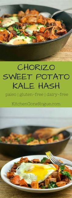 Chorizo Sweet Potato Kale Hash - vegan or paleo and gluten-free