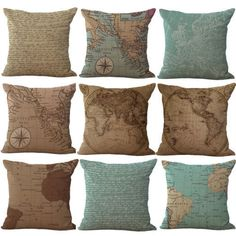 Pinterest the worlds catalog of ideas retro world map style cotton linen pillow case waist cushion cover home decor doesnotapply gumiabroncs Image collections